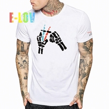 E-LOV High Quality Men Polo Shirts Printed Solid White Black Tees Tops Rock Styple Casual Men's Shirt For Gifts(China)