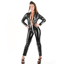 Buy Queen Top Quality Sexy Catwoman Catsuit Black Vinyl Catsuit Wet Look Jumpsuit Latex Faux Leather Zipper Crotch Jumpsuit W1145