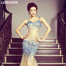 Nightclub Party show singer Host full dress Sparkling Crystals sexy backless perspective one piece dresses Leotard Mermaid Dress(China)