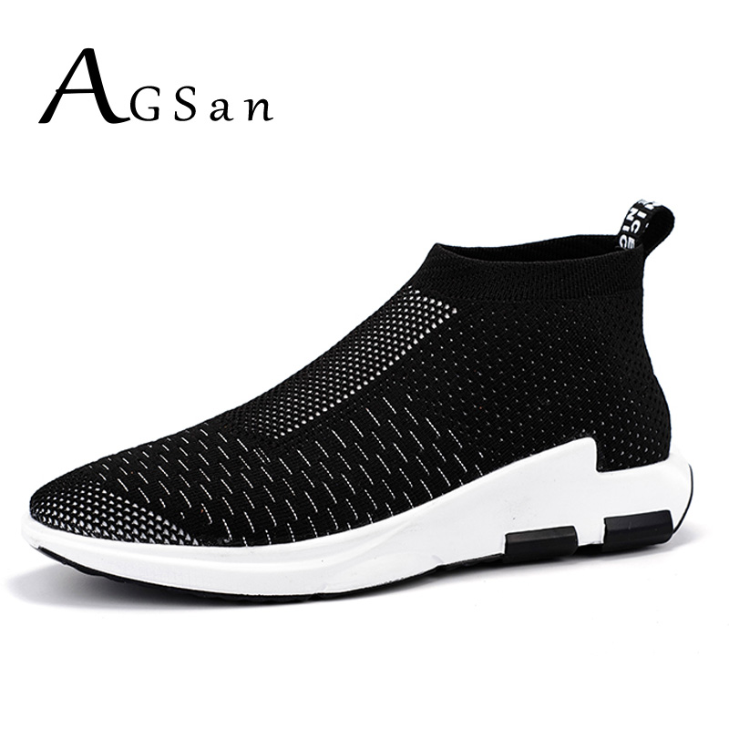 AGSan high top shoes men air fly woven casual shoes 2017 spring slip on trainers black grey red lightweight footwear shoes<br><br>Aliexpress