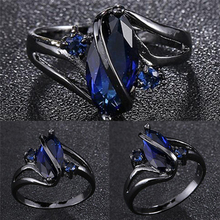 5 Size Top Quality Charming Women Fashion ring for women wedding Band luxury engagement jewelry Blue Cubic Zircon Ring For Party