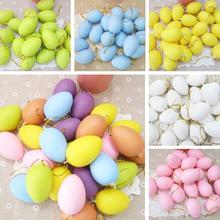 12pcs 42x60mm Easter Decoration For Home Kids Children DIY Painting Egg With Rope Gifts Plastic Hanging Easter Egg
