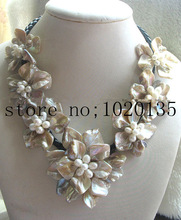 WOW!   freshwater pearl  white rice and shell flower necklace 18inch nature
