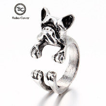 2017 Cute Dogs Adjustable Ring For Girl Three Colors Vintage Fashion Animal Open Finger Rings for Women jewelry Young Girl Gifts