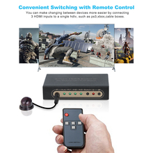 3 Port HDMI switcher 3D 4k/IR Extender/Auto Switch with Manual Switch and IR Wireless Remote Control For HDTV PS3 DVD Promotion