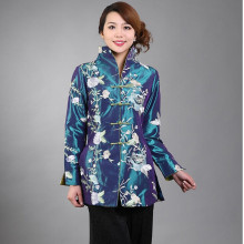 Top Sale Blue Lady Satin Polyester Overcoat Mandarin Collar Button Jacket Embroidered Flower Outwear Costume Size S To XXXL T044(China)