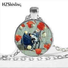 2017 New Arrival Red Poppies Necklace Trendy Jewelry Wizard of Oz Poppies Glass Dome Floral Art Photo Necklace for Women HZ1(China)
