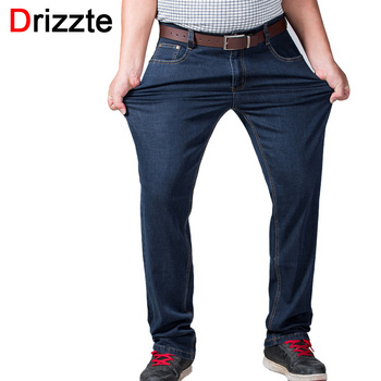 Drizzte Mens Big and Tall High Stretch Plus Size 36 to 52 Jeans Denim Business Relax Trousers Pants Dark Blue