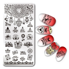 Christmas Nail Stamping Template Rectangle Winter Holiday Stamp Image Plate Manicure Nail Art Tool L031