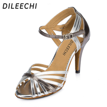 DILEECHI brand women's adult Latin dance shoes gold female high-heeled soft outsole ballroom dancing shoes all size