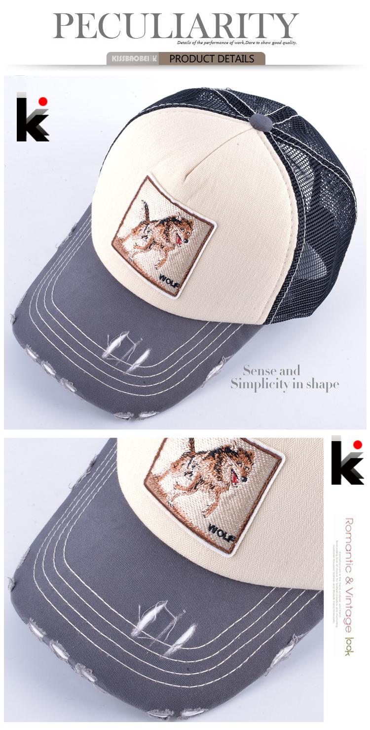 Fashion Unisex Patch Bones Wolf Embroidery Hip Hop Hats Breathable Mesh Baseball Caps Men Women Casquette Summer Trucker Gorras 12