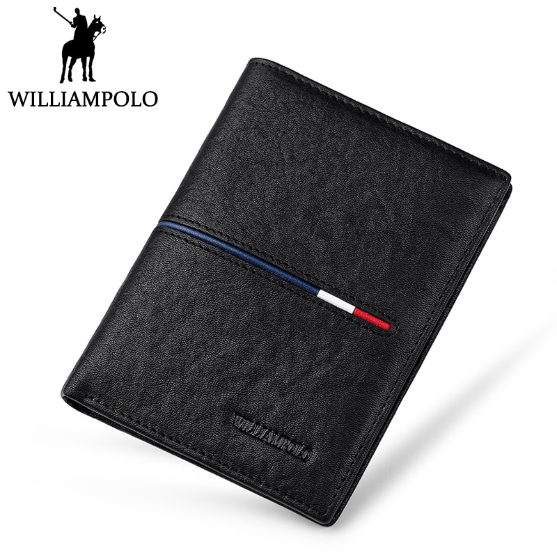 WilliamPOLO Genuine Leather Bifold Wallet Men Classic Design Short Wallet Male Purse Fashion Business Man Wallet Gift Cowhide<br>