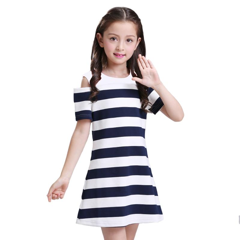 Brand Striped Girls Dress Big Girls Knitting 100% Cotton Bare Shoulders Stitching Vestido Preppy Style School Clothing 6y-12y<br>