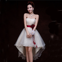 short in the front long in the back formal strapless corset dresses champagne lace tulle women homecoming ball dress H2692