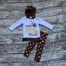 girls football hoodie outfit girls boutique clothing baby girls Daddy's Football Princess clothing girls gold polka dot pant