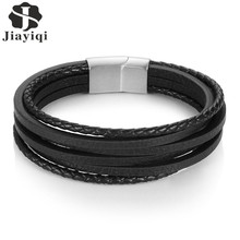 Jiayiqi Vintage Men Bracelet Genuine Leather Bracelet Stainless Steel Bracelets & Bangles for Male Jewelry Braid Rope Chain(China)