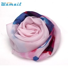 Womail  Good Deal  New Women Flower Printed Soft Comfortable Chiffon Scarf Shawl Long Neck Scarves Warm Wrap Stole Gift 1PC