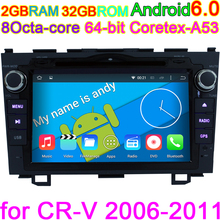 Octa Core HD 1024*600 Android 6.0 Car GPS DVD Computer for Honda CR V CRV 2006 2007 2008 2009 2010 2011 with BT Wifi Radio media(China)