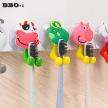 5pcs/lot Creative Cute Cartoon Animal Toothbrush Holder With Strong Suction Home Decoration Bathroom Accessories Suction Hooks(China)