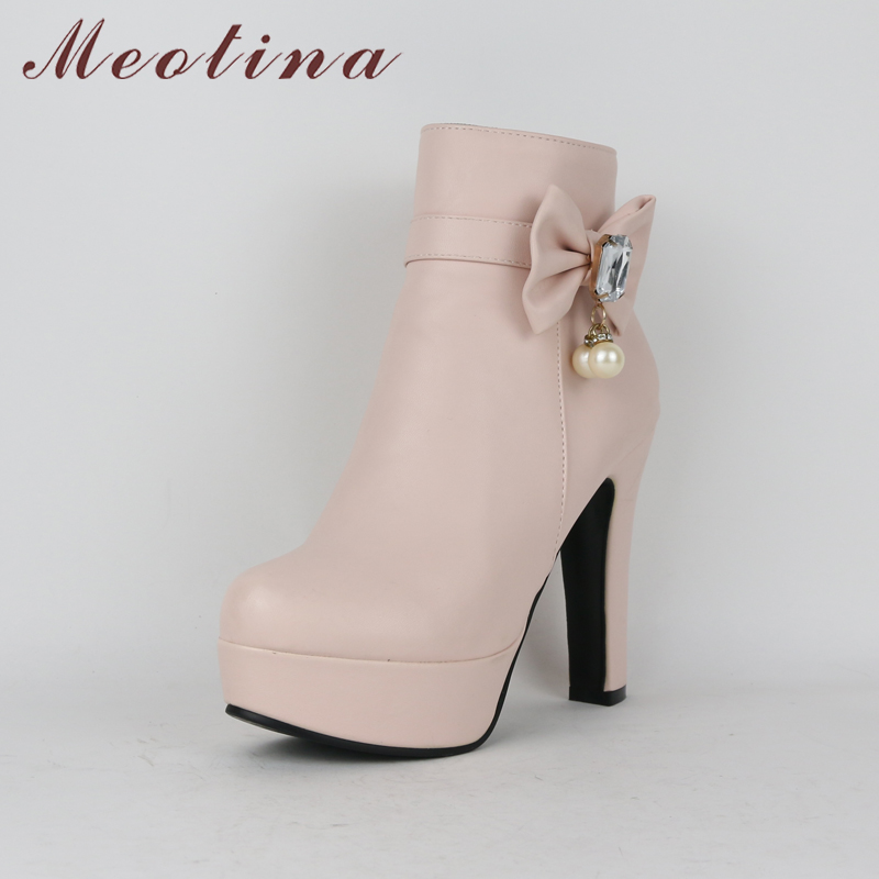 eeebded405a Meotina Women Winter Boots Fur Bow Platform High Heel Boots Zip Ankle Boots  Round Toe Ladies Shoes Plus Size 44 45 botas mujer. (2). (1) 8