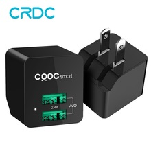 CRDC 5V2.4A Mini Dual USB Charger Portable Travel Wall Phone Charger Adapter US Plug for iPhone 7 6 Plus iPad Samsung Xiaomi Lg(China)