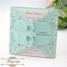 Laser cut cross design custom name holy communion Christening invitation card