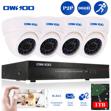 OWSOO 8CH 960H/D1 DVR CCTV Kit 4pc 800TVL Security Camera 1TB HDD Night Vision Camera 4*60ft Cable 8CH P2P Video Recorder Kit