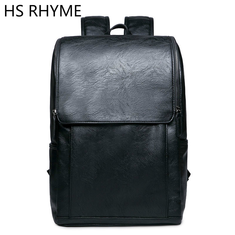 HS RHYME Korean Man Leather Business Backpack Male New Style Junior Middle School Students Leisure Travel Bag<br><br>Aliexpress