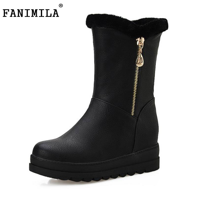 FANIMILA Size 34-43 Women Wedges Snow Boots Zipper Half Short Boots Warm Fur Cold Winter Botas Mid Calf Boots Women Footwears<br>