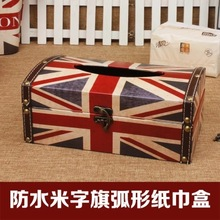 Free shipping wood tissue box the Union Flag pattern tissue box do old design(China)