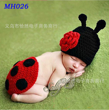 Handmade Crochet Ladybug Set Baby Photography Props Newborn Cover Set Infant Animal Beanie Hats