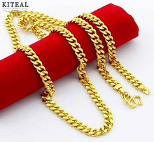 High Quality Pure gold color 5mm length 60cm man collar necklace lchain Men jewelry fashion cable chain YHDN069