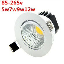 ניתן לעמעום LED COB Downlight AC110V 220 V 5 W/7 W/9 W/12 W שקוע LED lumination אור ספוט מנורת תקרה לקישוט פנים(China)