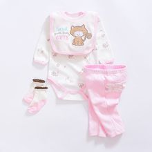 2017 baby Clothing Sets cotton baby girl clothes Newborn bodysuits boy suit 4pcs long sleeve infant rompers+trousers+socks+Bib
