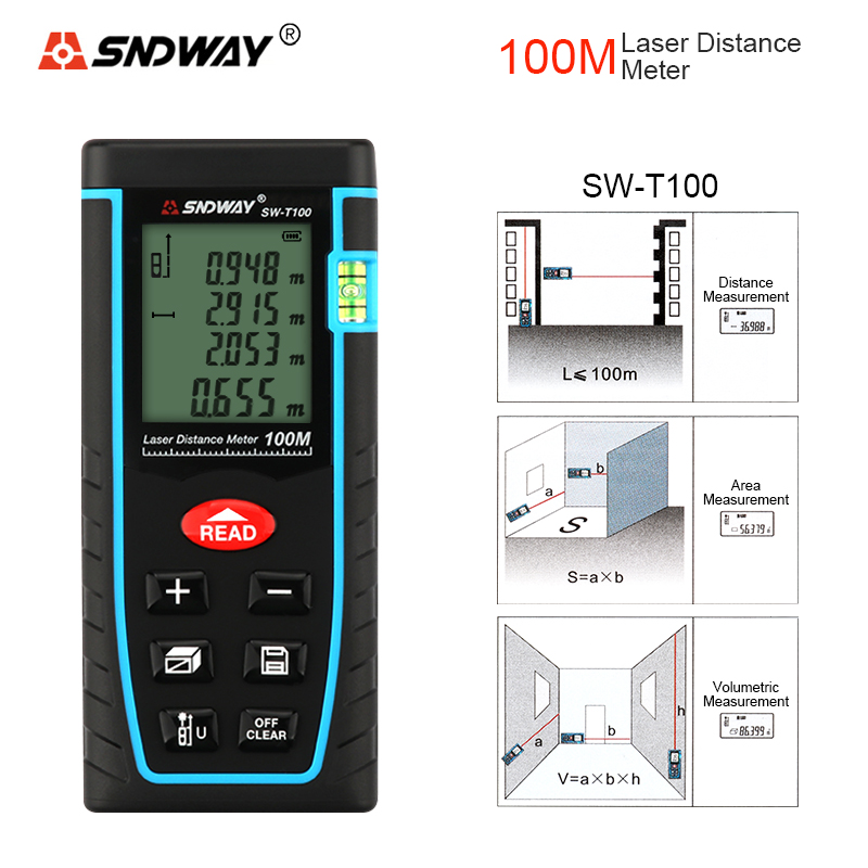 SNDWAY SW-T100 100M Laser Range Finder Distance Measurer Laser Distance Meter Laser Rangefinder Measuring Instruments<br>
