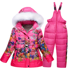 Russia winter girls snow wear kids ski suits floral print fleece jacket+skiing pants 2 pieces clothing set 6 7 8 9 10 years(China)