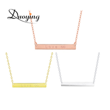 Bar Necklace Silver Plated Thin Chain Tiny Hand Stamp Custom Name Initial Letter Hope Necklace Delicate Sister Gift for Amazon(China)