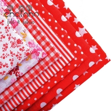PlainThin Cotton Fabric For Sewing Patchwork Quilting Scrapbook Cloth Fat Quarters Tissue Needlework Pattern 50*50cm Red 7pcs(China)