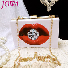 2017 New Design Women's Fashion Handbags Diamond Lip Printing Evening Bags Acrylic Hard Mini Chain Shoulder Clutch Party Package(China)