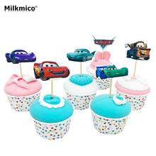 MILKMICO 24pcs 3D Cartoon Car Cake Toppers Lovely Cupcake Picks For Kids Baby Birthday Party Food Picks Cake Decoration Supplies