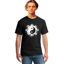 New 2016 Fashion Summer Famous Brand T Shirt Men Tops Chinese Tai Chi Ink Ying Yang Tshirt Printed Cotton Clothing T-shirt Tees(China)