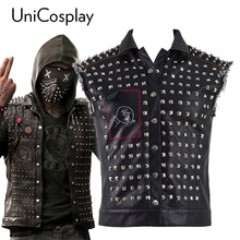 Watch Dogs 2 Wrench Vest Cosplay Costume Black Faux Leather Dedsec Jacket Vests with Mask(China)