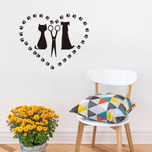 Cat And Dog Salon Vinyl Wall Sticker Cat Love Dog Removable Decals For Kids Room Home Decor