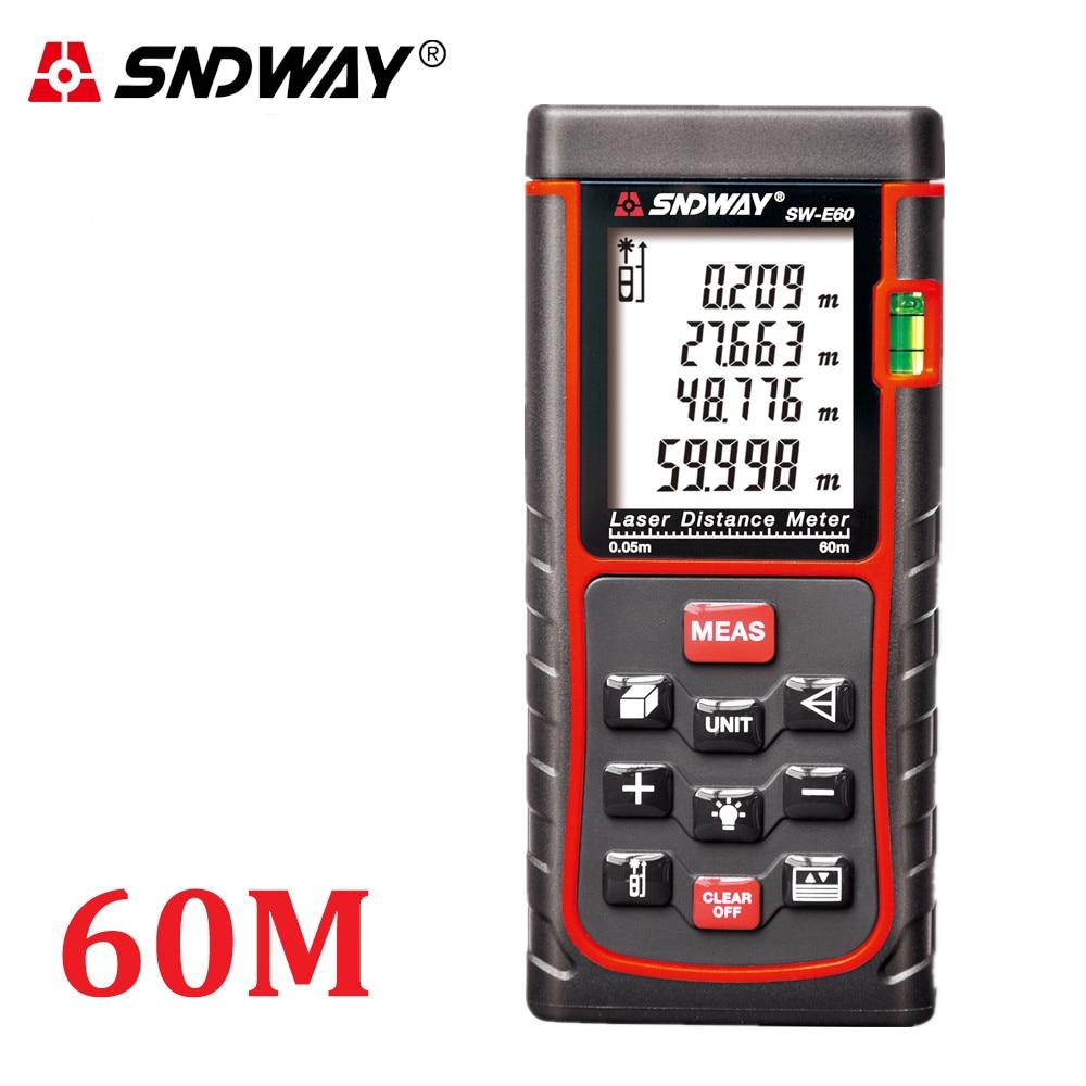 SNDWAY Laser Meter RZ60 60M Rangefinders Laser Distance Meter Range Finder Roulette laser tape Measure Distance/Area/volume <br><br>Aliexpress