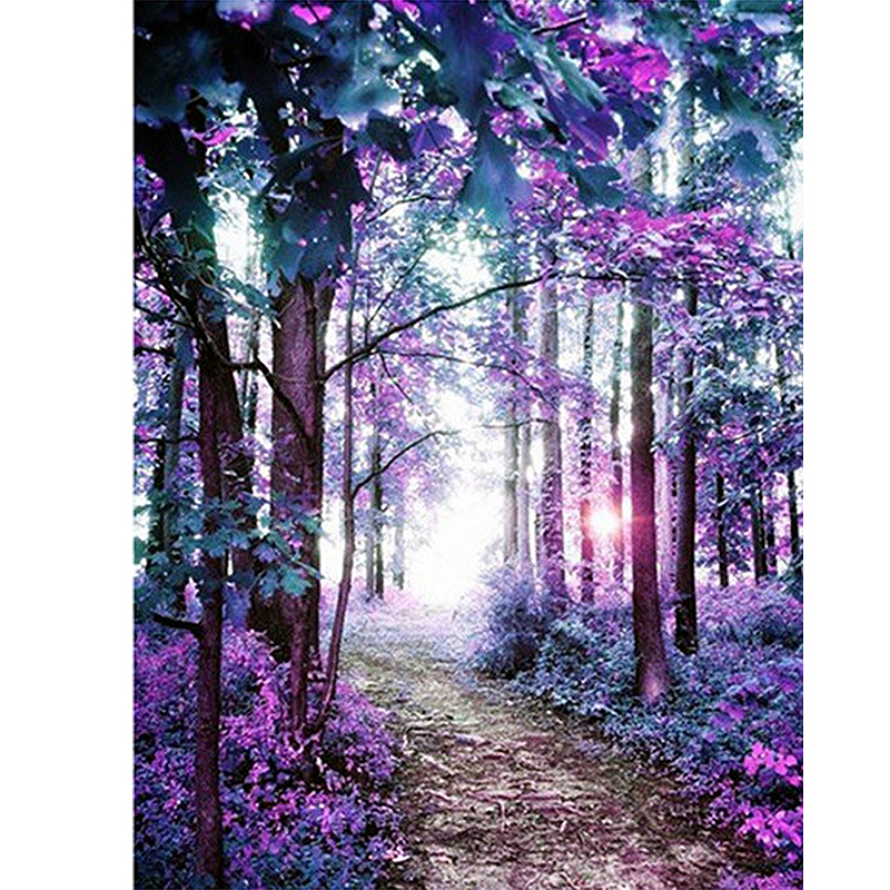 5D Diamond Painting Cross-Stitch-Kit Scenery-Tree Mosaic Rhinestone Crystal Landscape title=