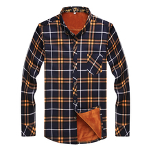 Large size 2017 NEW 8XL 7XL 6XL 5XL Fashion Male Cheap Quality winter shirt men Plaid Long Sleeve Thermal Warm Velvet padded(China)