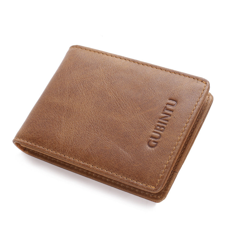GUBINTU Front Pocket Wallet Minimalist Wallets Genuine Leather Slim RFID Blocking Card Wallet Men's Card Holder Drop