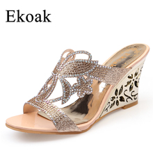 Ekoak New 2017 Fashion Summer Party Shoes Woman Rhinestone Cut-outs Wedges Sandals Ladies Floral Sexy Open Toe sandals(China)