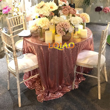 "Wholesale 120"" Round (300cm) Rose Gold Sequin Tablecloths Wedding Table Linen Glitter Sequin Table Cover for Wedding Decoration"