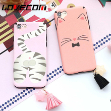 LOVECOM Cartoon Pink Cat Soft Silk Heart Camera Hole Phone Case For iPhone 6 6S 7 Plus Tassels Stars Pendant Phone Back Cover